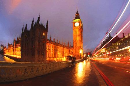 bus anglais: Célèbre Big Ben à Londres, Angleterre, Royaume-Uni, ILLUSTRATION STYLE
