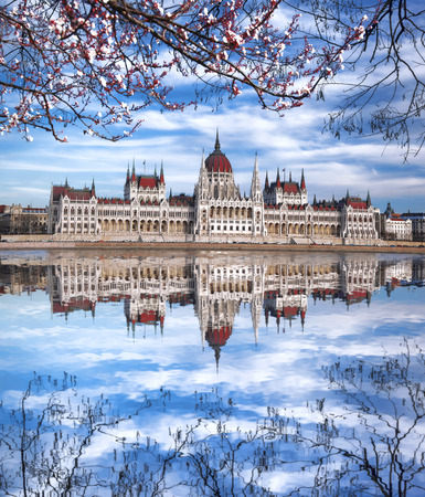 Famous Parliament with river in Budapest, Hungary photo