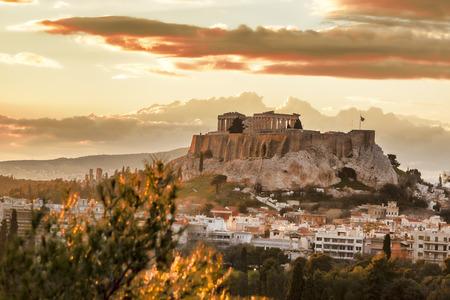 athena: Acropolis with Parthenon temple in Athens,  Greece Stock Photo