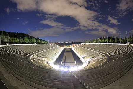 the olympic games: Panathenaic stadium  in Athens, Greece (hosted the first modern Olympic Games in 1896)