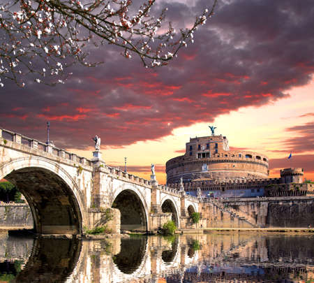 angel tree: Angel Castle with bridge on Tiber river in Rome, Italy