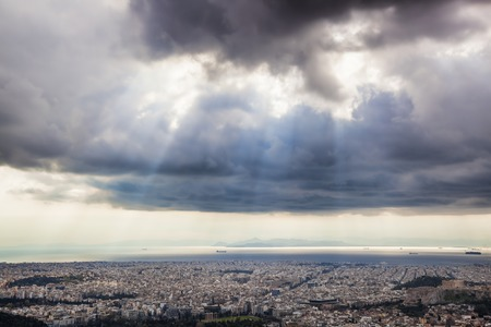 spells: City of Athens with sunny spells in Greece