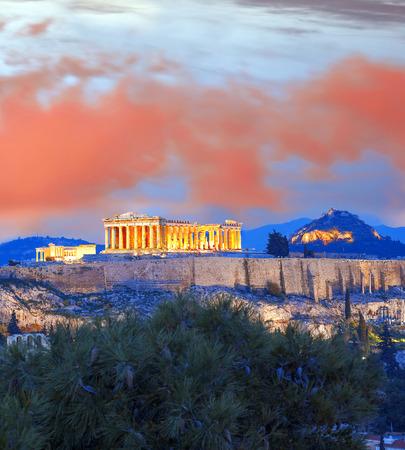 acropolis: Acropolis with Parthenon temple in Athens, Greece Stock Photo