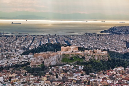 Acropolis with Parthenon temple in Athens, Greece Stok Fotoğraf