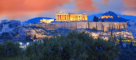 Acropolis with Parthenon temple in Athens, Greece Foto de archivo