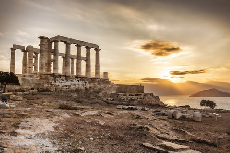 greek columns: Famous Greek temple Poseidon,  Cape Sounion in Greece Stock Photo