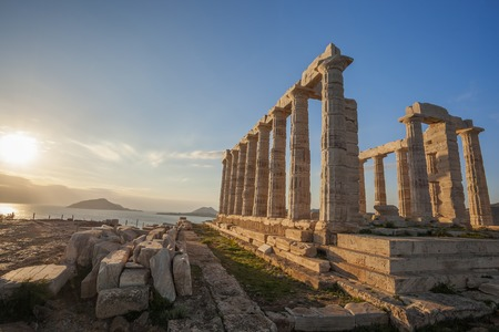 greece: Famous Greek temple Poseidon,  Cape Sounion in Greece Stock Photo