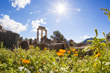 Delphi with ruins of the Temple in Greece photo