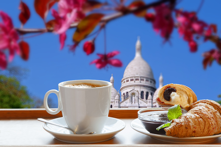 copule: Sacre Coeur Cathedral with morning breakfast in Paris, France