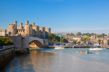 Famous Conwy Castle in Wales, United Kingdom, series of Walesh castles 스톡 콘텐츠