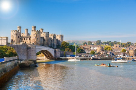 Famous Conwy Castle in Wales, United Kingdom, series of Walesh castles Standard-Bild