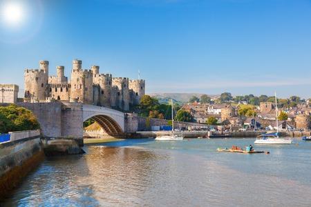 Famous Conwy Castle in Wales, United Kingdom, series of Walesh castles Foto de archivo