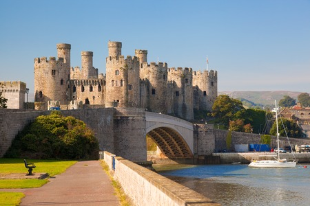 south west england: Famous Conwy Castle in Wales, United Kingdom, series of Walesh castles Stock Photo