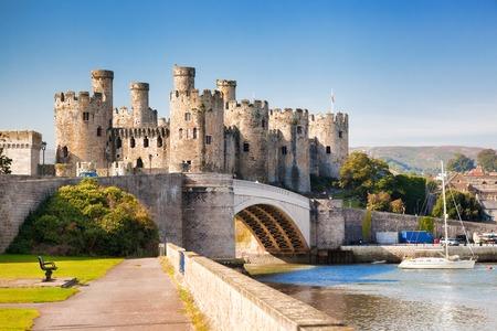Beroemde Conwy Castle in Wales, Verenigd Koninkrijk, serie Walesh kastelen