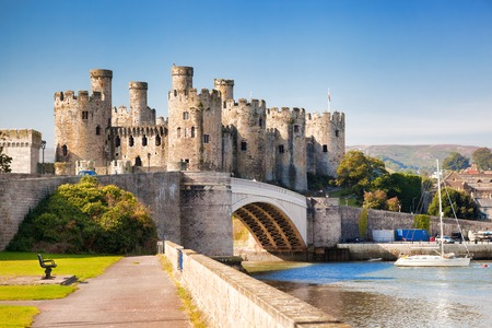 Famous Conwy Castle in Wales, United Kingdom, series of Walesh castles Фото со стока
