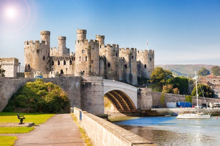 castle: Famous Conwy Castle in Wales, United Kingdom, series of Walesh castles Stock Photo
