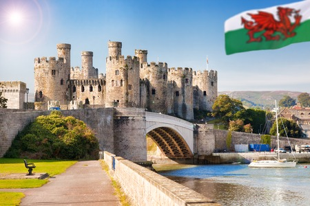 castle rock: Famous Conwy Castle in Wales, United Kingdom, series of Walesh castles Stock Photo