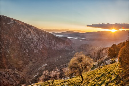 delphi: Amazing view of sunset in Delphi Greece Stock Photo