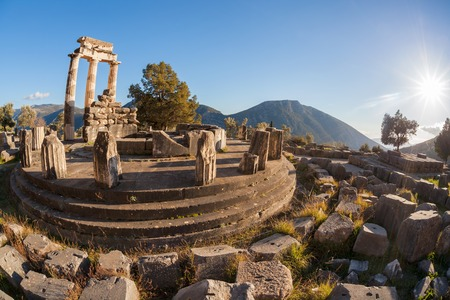 Famous Delphi with ruins of the Temple in Greece photo