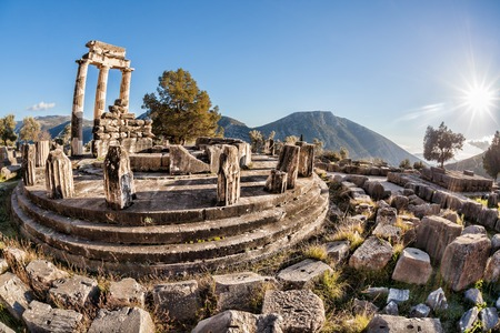 classical greece: Famous Delphi with ruins of the Temple in Greece