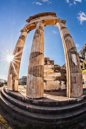 archaeologists: Famous Delphi with ruins of the Temple in Greece