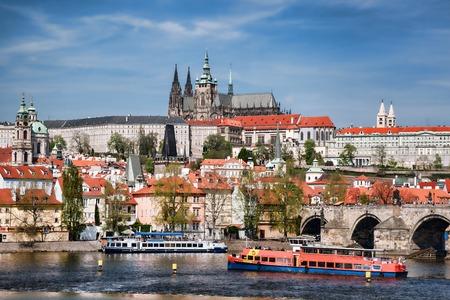 Prague Castle with famous Charles Bridge in Czech Republic photo