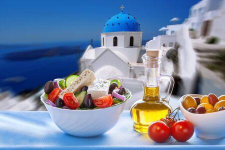 santorini caldera: Greek salad in Santorini island in Greece Stock Photo