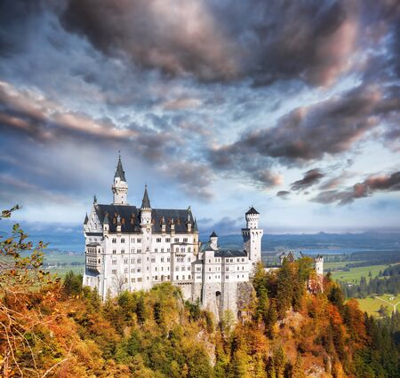 hill of the king: Famous Neuschwanstein castle in Bavaria Germany