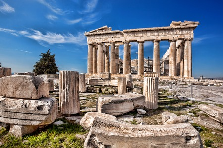 greek columns: Famous Parthenon temple on the Acropolis in Athens Greece