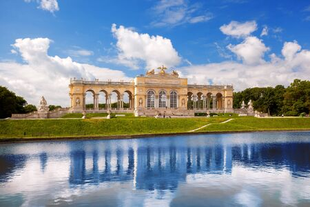 the gloriette: Famous lake with Gloriette Schonbrunn Palace in Vienna Austria