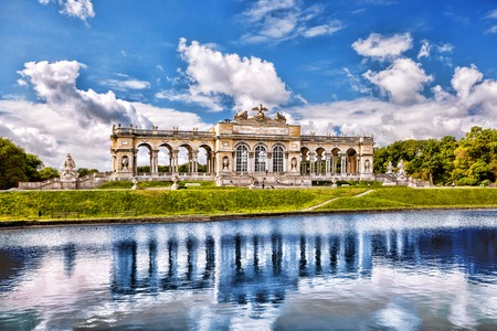 schonbrunn palace: Famous lake with Gloriette Schonbrunn Palace in Vienna Austria