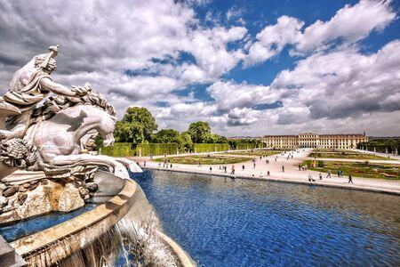 schloss schoenbrunn: Famous Schonbrunn Palace with fountain in the garden Vienna Austria