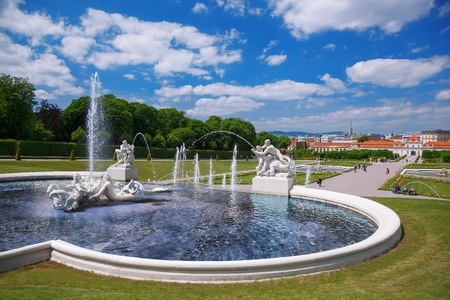 Famous Belvedere Palace with fountains in Vienna Austria
