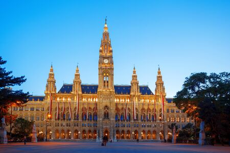 town halls: Famous City Hall in the evening Vienna Austria
