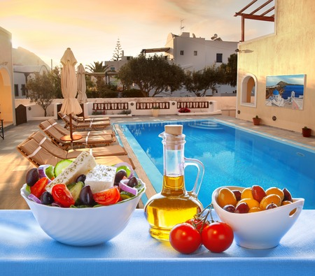 azure coast: Greek salad on Santorini island in Greece