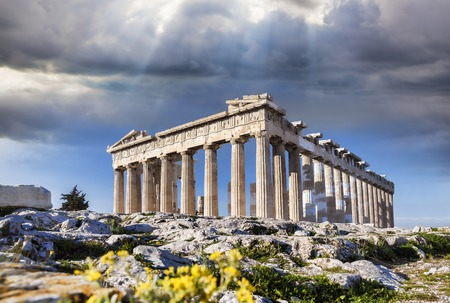 ruins is ancient: Famous Parthenon temple on the Acropolis in Athens Greece