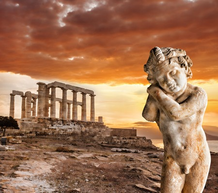 archaeologists: Famous Greek temple of Poseidon in Cape Sounion in Greece Stock Photo