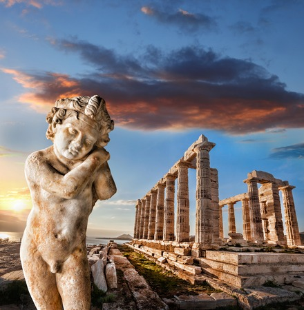classical greece: Famous Greek temple of Poseidon in Cape Sounion in Greece Stock Photo