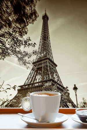 Famous Eiffel Tower with cup of coffee art style in Paris France