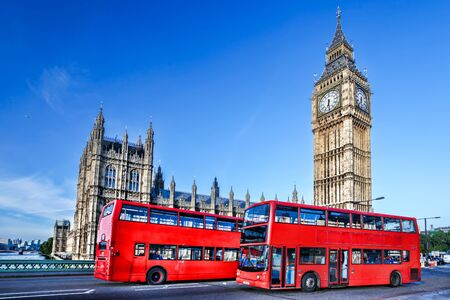 great britain: London with red bus against Big Ben in England, UK