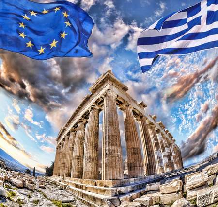 greece flag: Acropolis with flags of Greece and the European Union in Athens, Greece