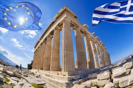 ancient greece: Acr�polis con banderas de Grecia y la Uni�n Europea en Atenas, Grecia