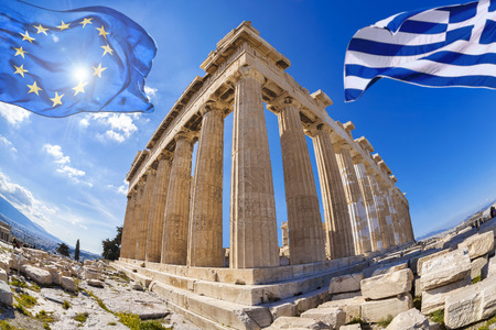 classical greece: Acropolis with flags of Greece and the European Union in Athens, Greece