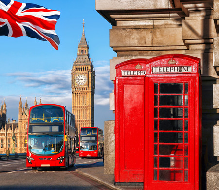 uk: London symbols with BIG BEN, DOUBLE DECKER BUS and Red Phone Booths in England, UK