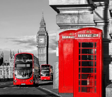 cabina telefonica: S�mbolos de Londres con el Big Ben, Autob�s de dos pisos y cabinas de tel�fono rojas en Inglaterra, Reino Unido