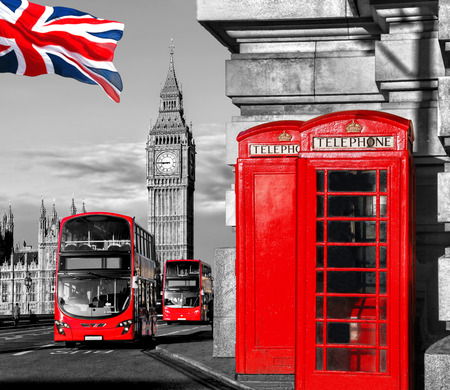 London symbols with BIG BEN, DOUBLE DECKER BUS and Red Phone Booths in England, UK Reklamní fotografie - 42531148