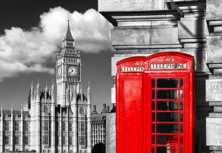 English red telephone booths with the Big Ben in London, UK Foto de archivo