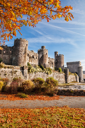 south west england: Famous Conwy Castle in Wales, United Kingdom, Walesh series of castles