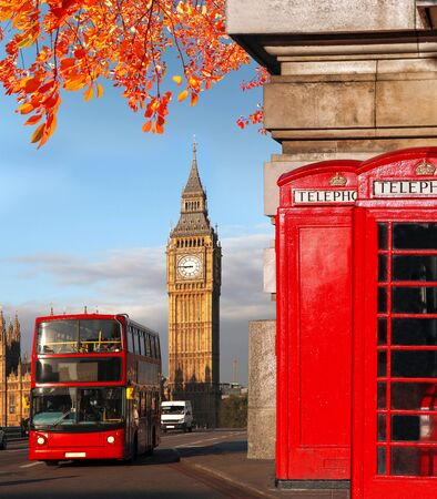 streets of london: London symbols with BIG BEN, DOUBLE DECKER BUS and Red Phone Booths in England, UK