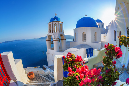 greece: Oia village in Santorini island, Greece